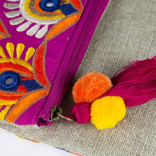 Pochette boho chic in lino con ricami multicolor in cotone